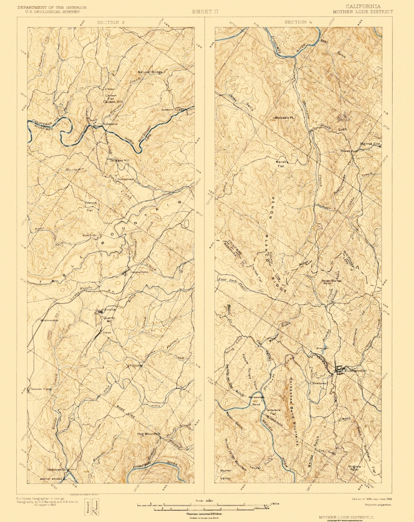 Topographical Map - Mother Lode District California 1899 - California Mother Lode Map