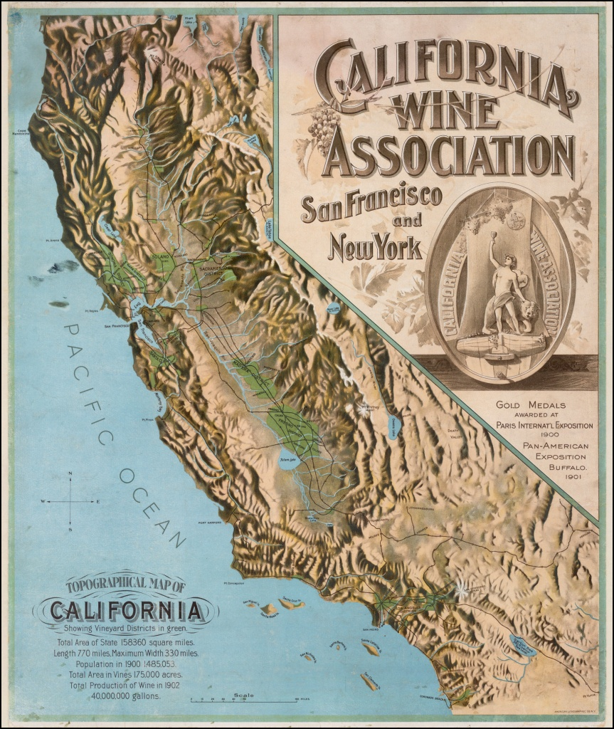 Topographical Map Of California Showing Vineyard Districts In Green - Baja California Topographic Maps
