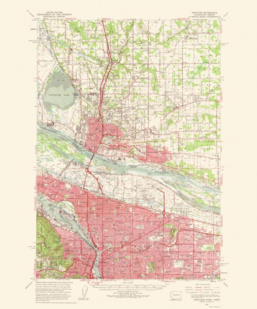 Topographical Map Print - Portland Oregon, Washington - Usgs 1963 - Usgs Printable Maps