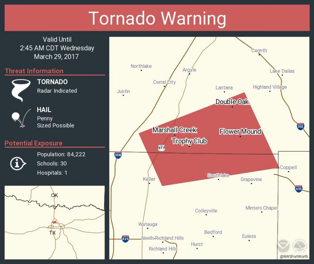 Tornado Warning: Tornado Warning Continues For Flower Mound Tx - Trophy Club Texas Map
