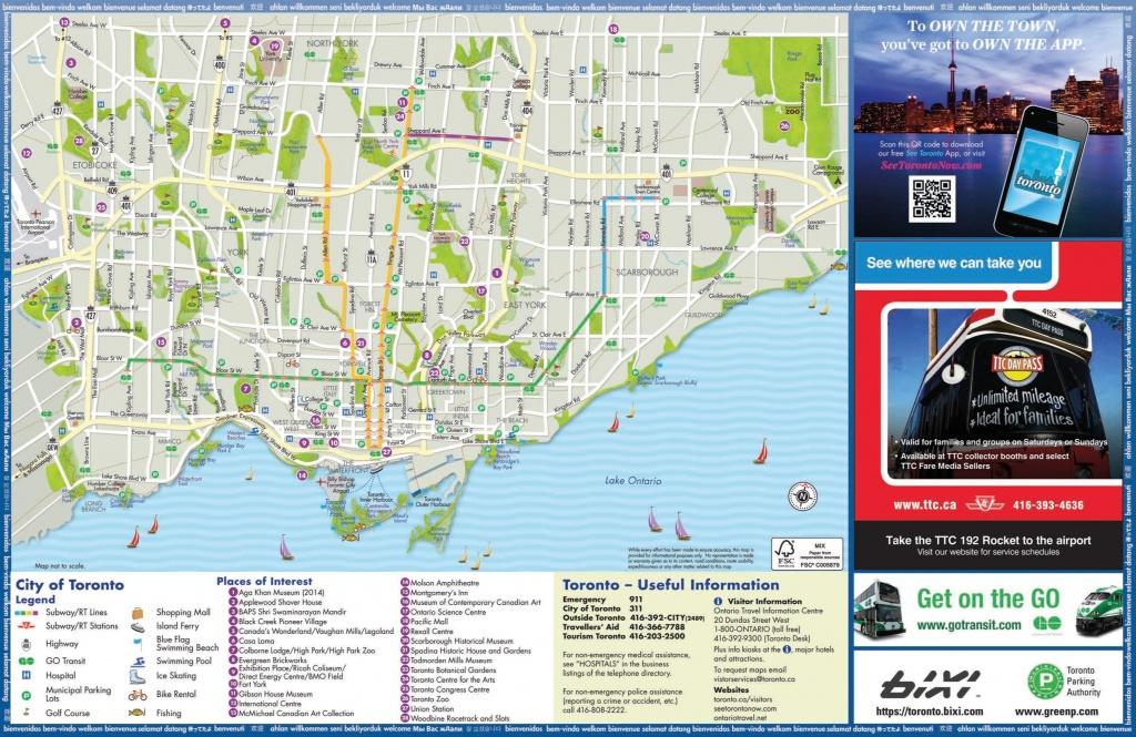 Toronto Tourist Attractions Map - Printable Map Of Toronto