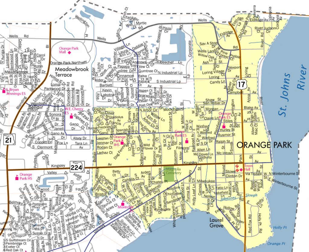 Town Limits & Map - Town Of Orange Park - Florida Parks Map