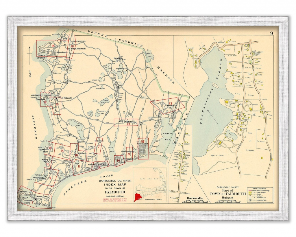Town Of Falmouth Massachusetts 1910   Etsy - Printable Map Of Falmouth Ma