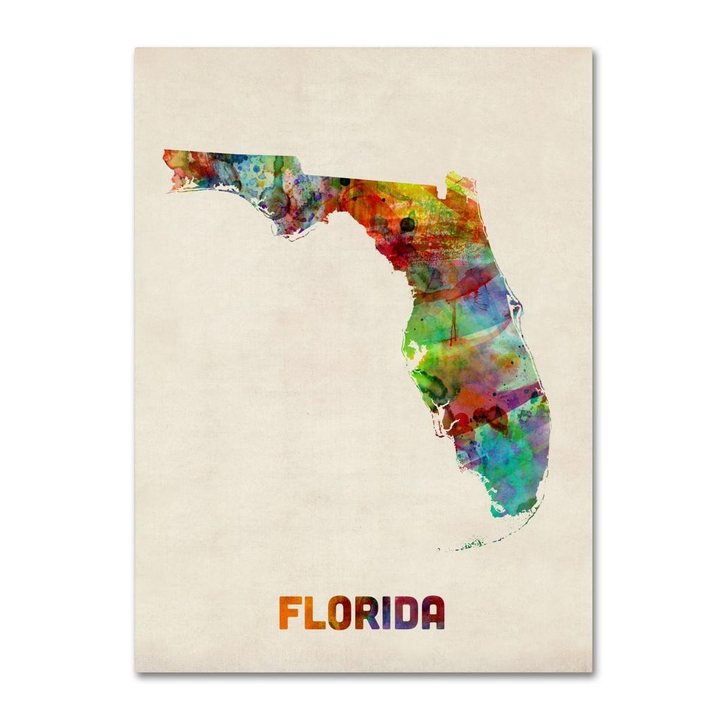 Trademark Art 'florida Map'michael Tompsett Framed Graphic Art - Framed Map Of Florida