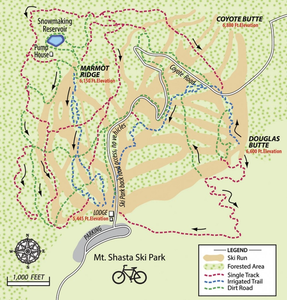 Trail Map – Mt. Shasta Ski Park - Mount Shasta California Map