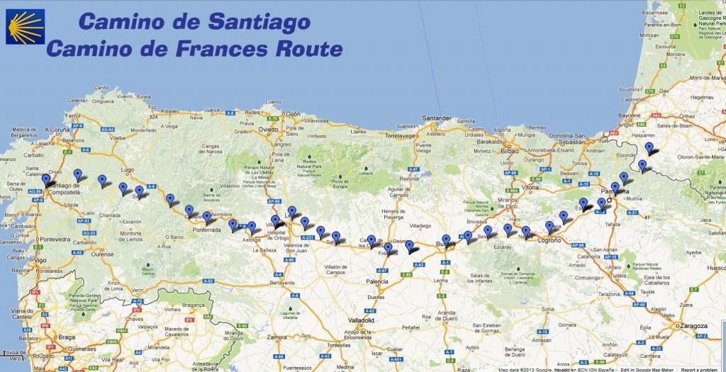 Trekcapri's Blog: Camino De Santiago: Buen Camino Great Map Of - Printable Map Of Camino De Santiago