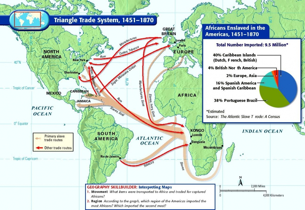 Triangle Slave Trade Map 14Th Century | Mapping The Middle Passage - Triangular Trade Map Printable