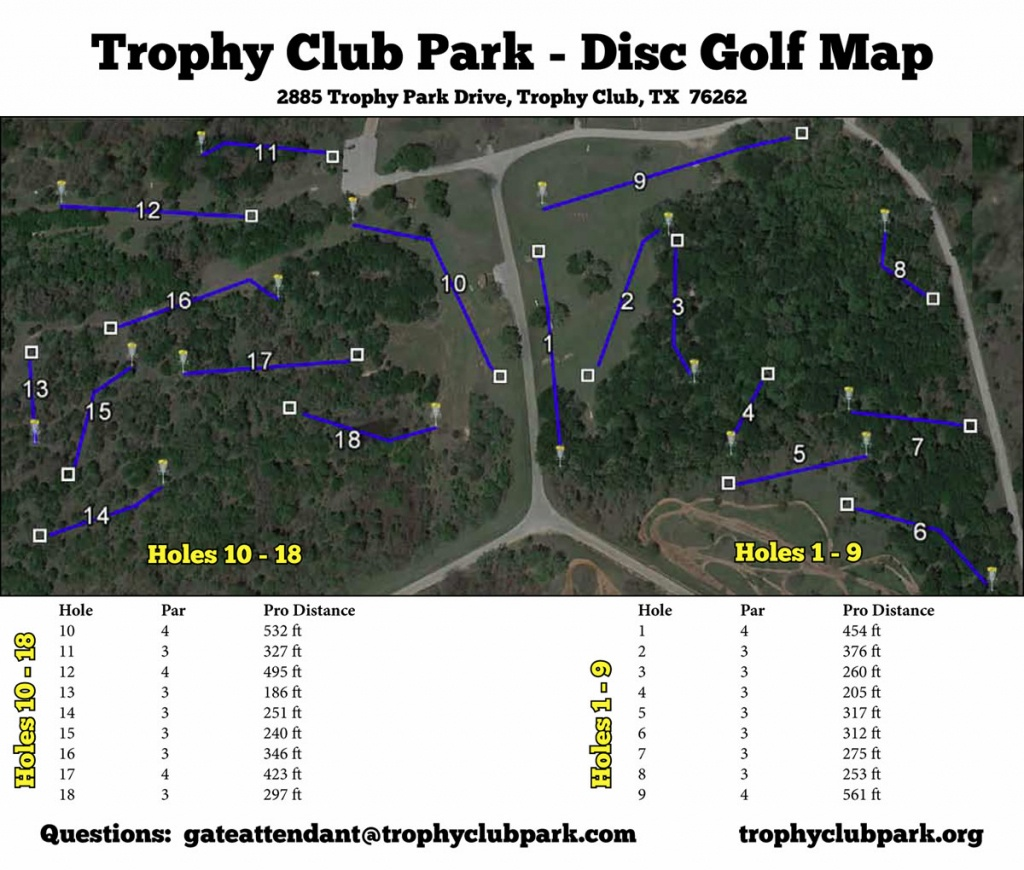 Trophy Club Park In Trophy Club, Tx - Disc Golf Course Review - Trophy Club Texas Map