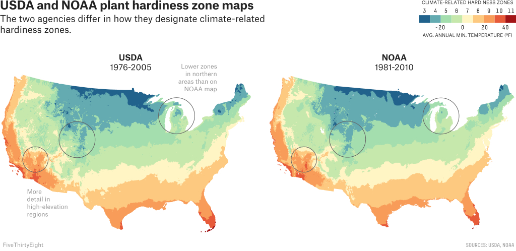 Two Government Agencies. Two Different Climate Maps.   Fivethirtyeight - Texas Hardiness Zone Map