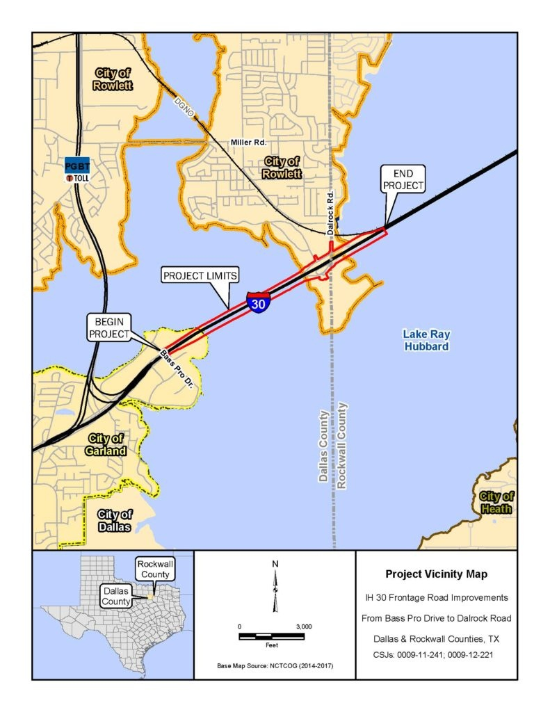 Txdot Public Hearing On I-30 Frontage Roads Improvements - Rowlett Texas Map