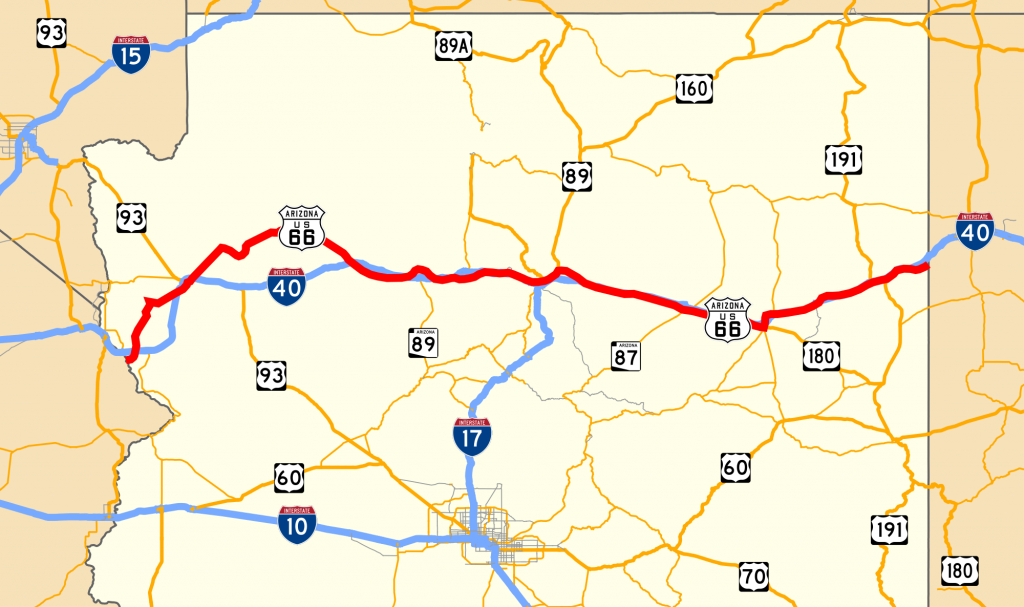 U.s. Route 66 In Arizona - Wikipedia - Free Printable Route 66 Map