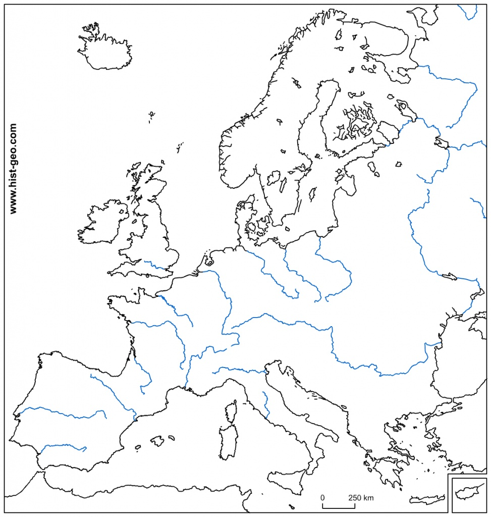 Ue Fleuves Map With Zone Free Printable Europe 20 | Sksinternational - Blank Political Map Of Europe Printable