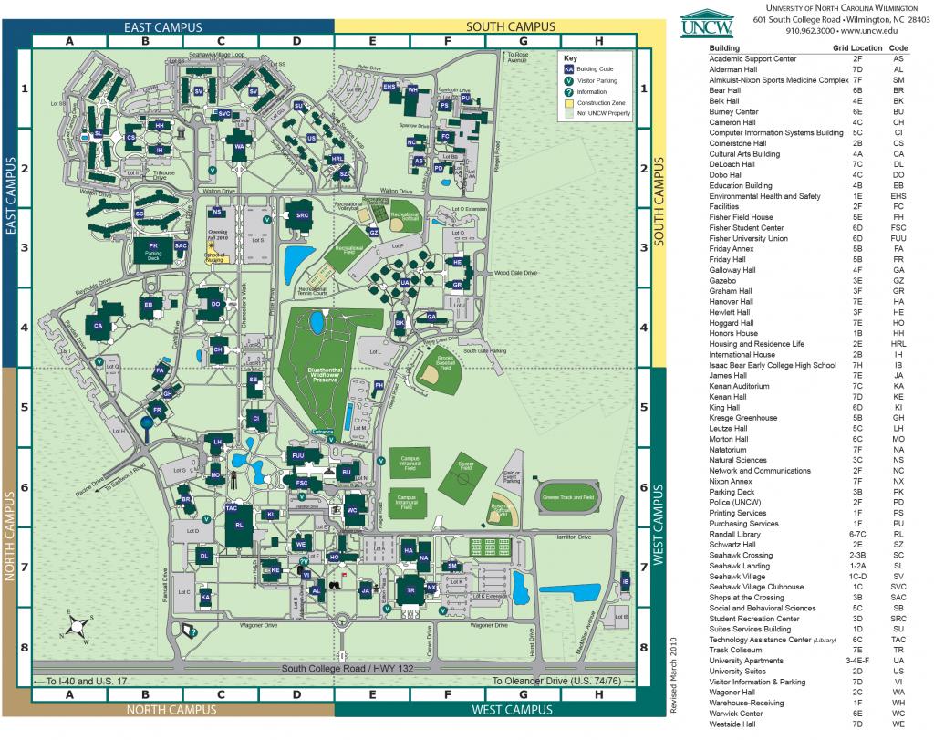 Unc Wilmington Campus Map   Autobedrijfmaatje - Duke University Campus Map Printable