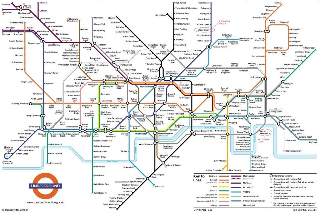 Underground: London Metro Map, England - Printable London Underground Map