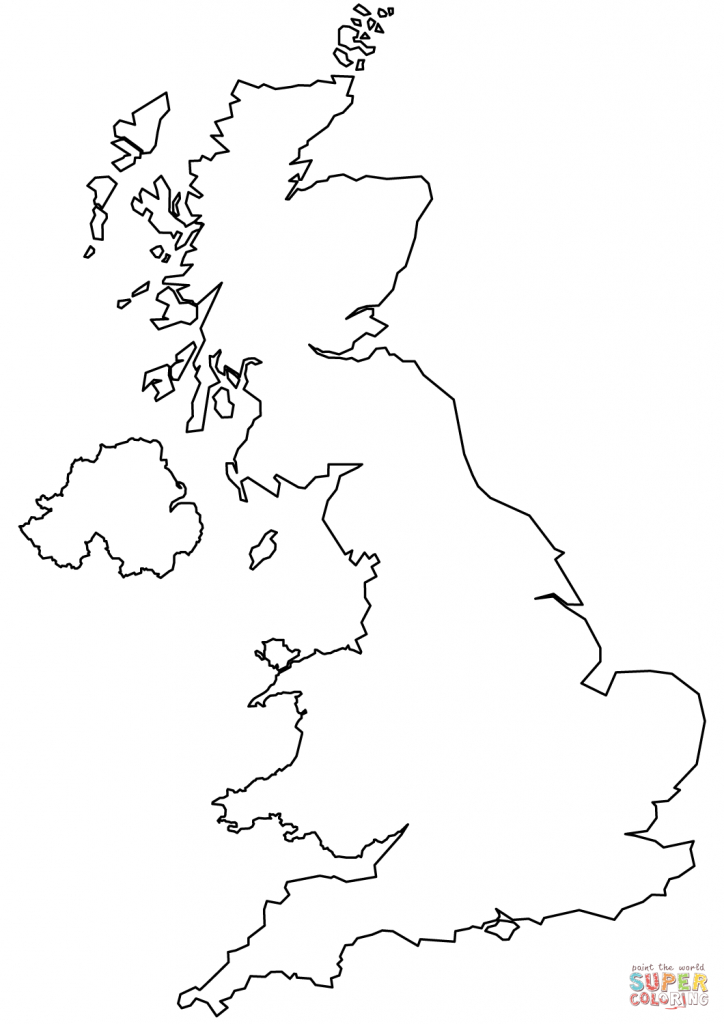 United Kingdom Blank Outline Map Coloring Page | Free Printable - Uk Map Outline Printable