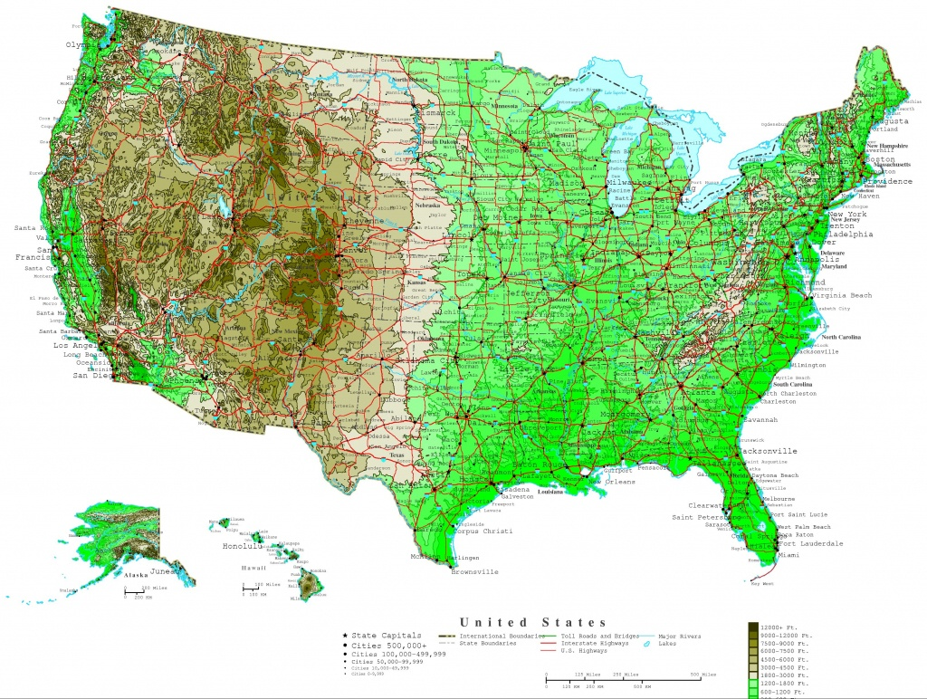 United States Contour Map - Printable Topographic Map Of The United States