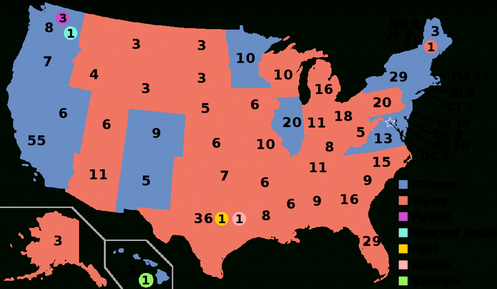 United States Electoral College - Wikipedia - Blank Electoral College Map 2016 Printable