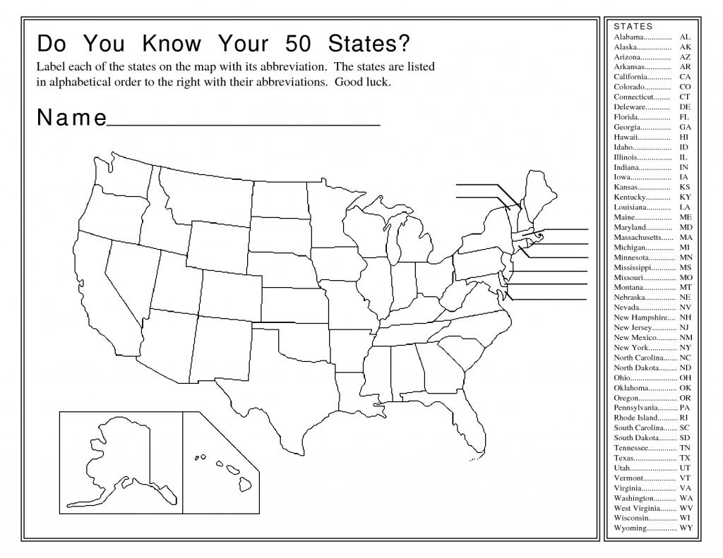 United States Map Activity Worksheet | Social Studies | Map Quiz - Us State Map Quiz Printable