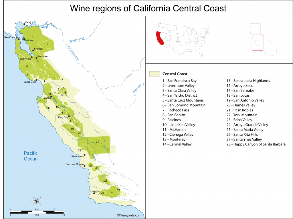 United States Map Of Vineyards Wine Regions - California Ava Map