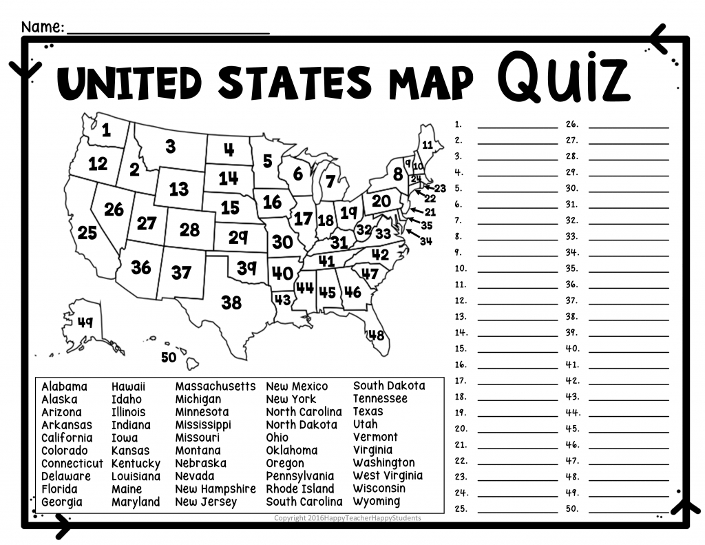 United States Map Quiz & Worksheet: Usa Map Test With Practice - 50 States And Capitals Map Quiz Printable