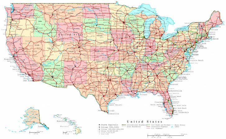 Printable Map Of Usa With Cities And States