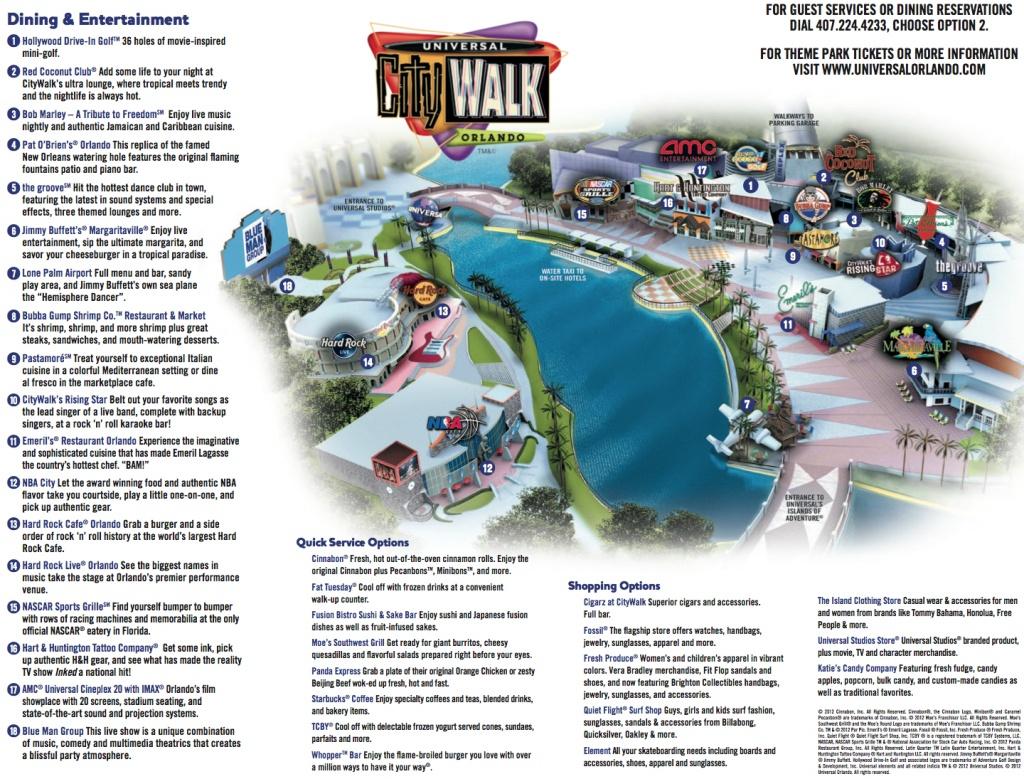 Universal Orlando Maps - Universal Studios Florida Citywalk Map