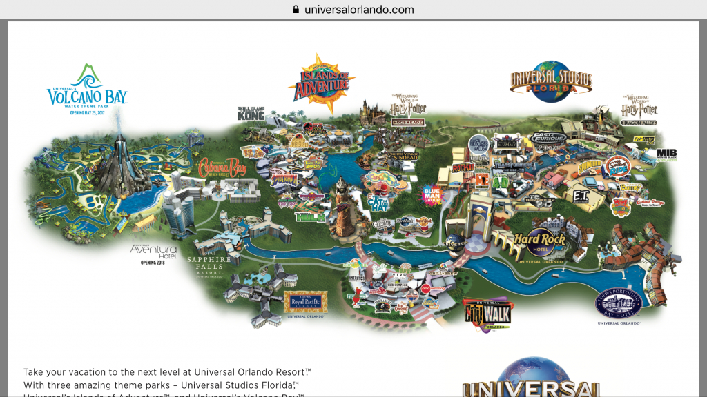 Universal Orlando Resort Map - Themeparkhipster - Universal Orlando Florida Map