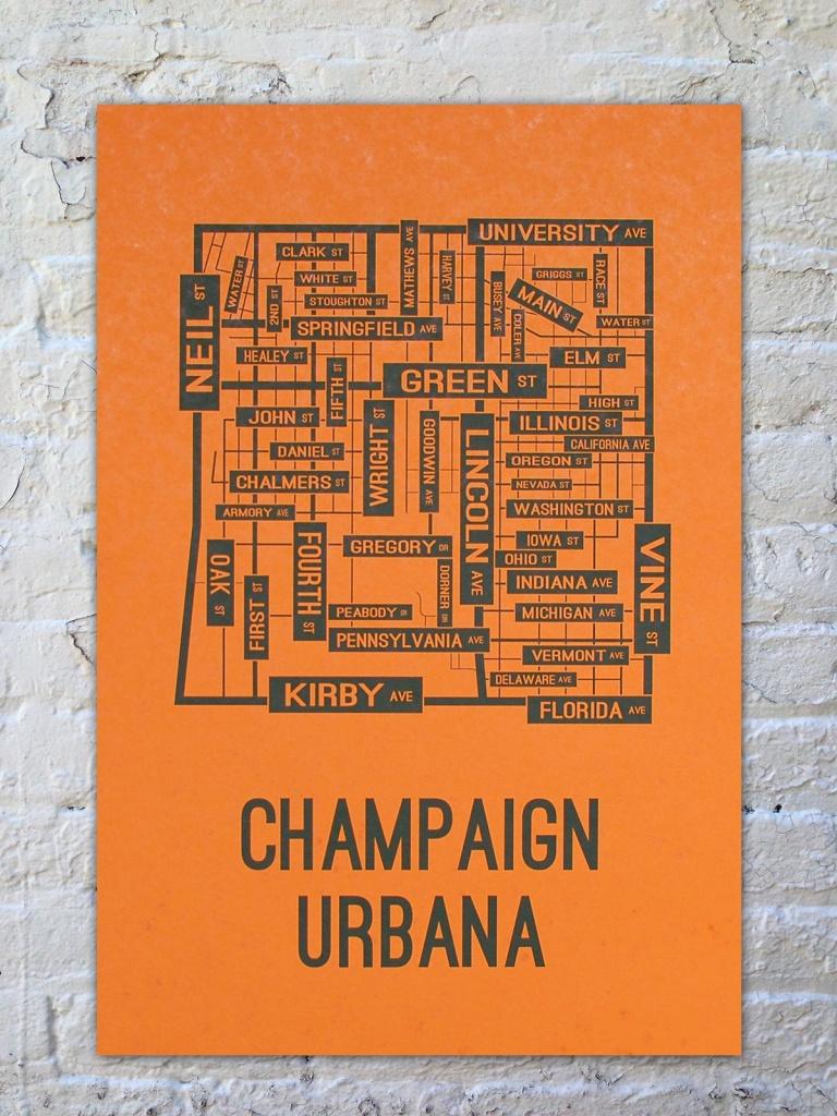 University Of Illinois Champaign-Urbana Fighting Illini Poster Print - Printable Map Of Champaign Il