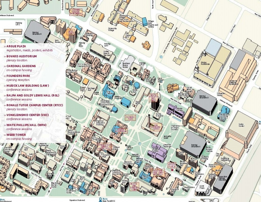 University Of Southern California Campus Map | Danielrossi - University Of Southern California Map