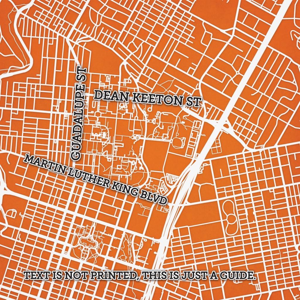 University Of Texas At Austin Campus Map Art - The Map Shop - Texas Map Art