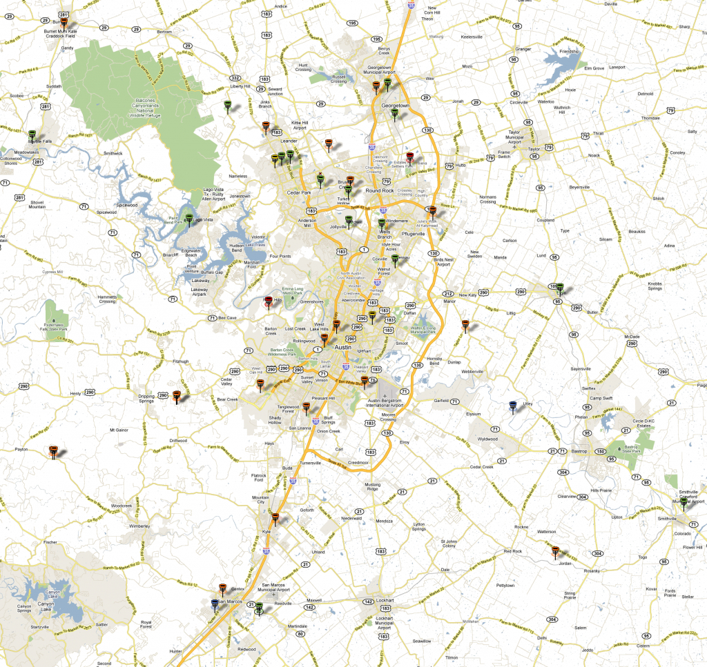 Updated Disc Golf Map For Greater Austin Area - Disc Golf Course Review - Printable Map Of Austin