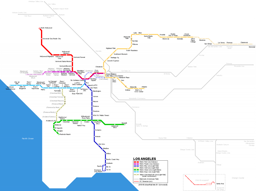 Urbanrail > America > Usa > California > Los Angeles - Metro - California Metro Rail Map