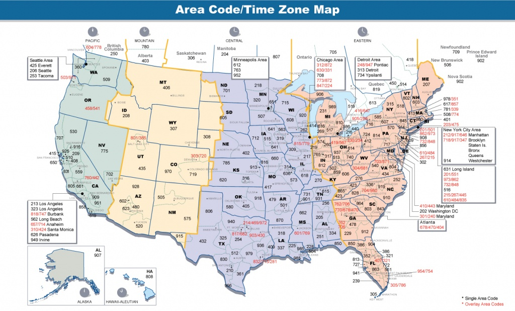 Us Area Code Map With Time Zones Usa Time Zone Map With States - Us Timezone Map Printable