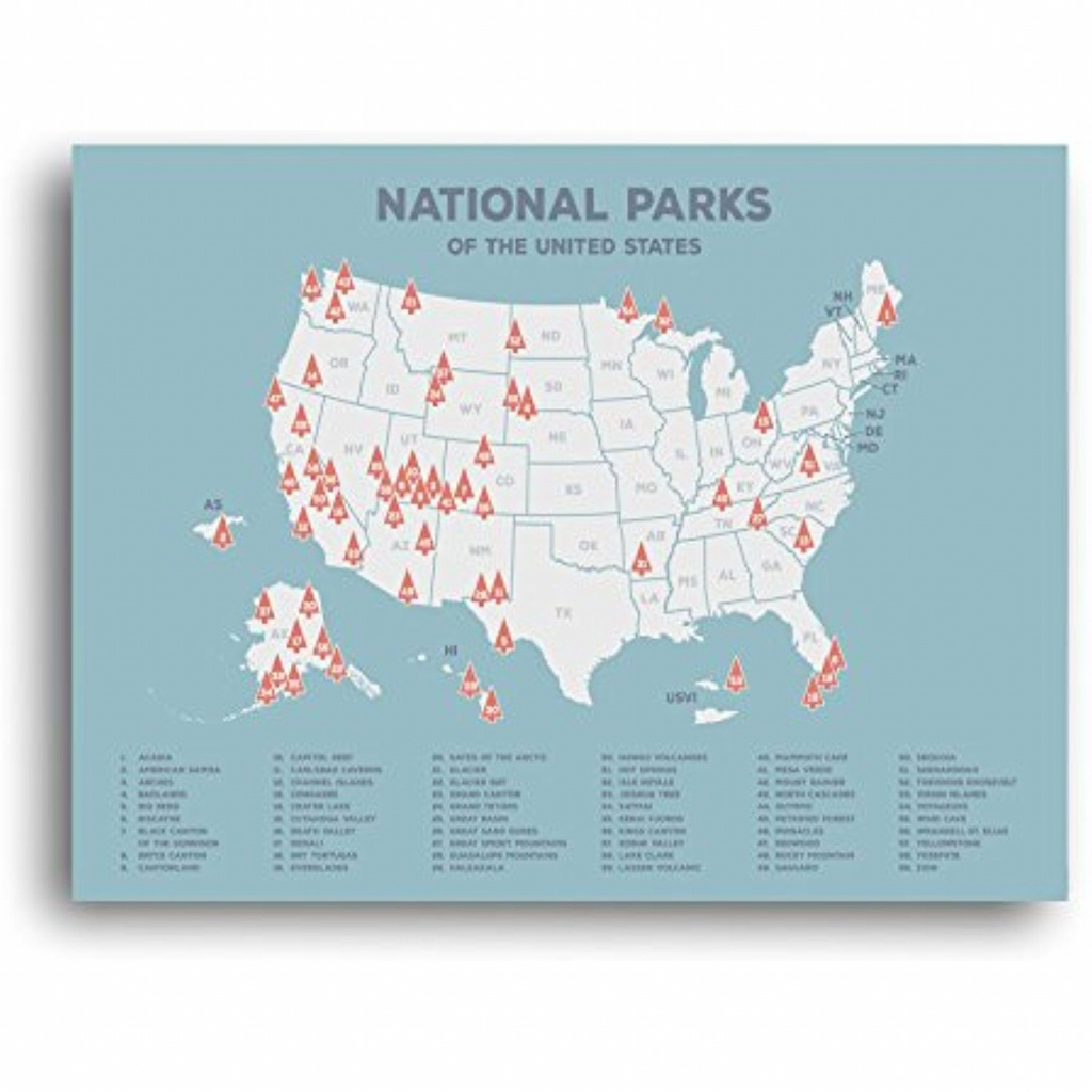 Us National Parks Map, Black Usa Map, Poster, Map Of The ...