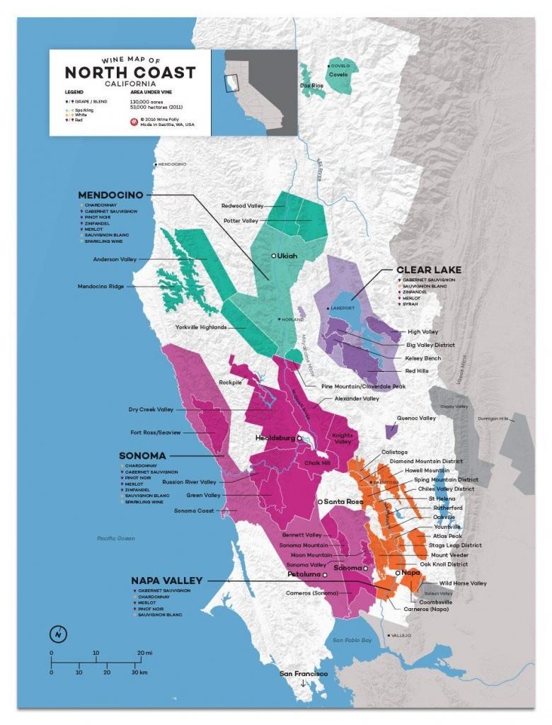 Usa: California, North Coast Wine Map In 2019 | California Wine - California Wine Country Map