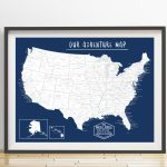 Usa Push Pin Map Print Only United States Travel Map | Etsy   United States Travel Map Printable