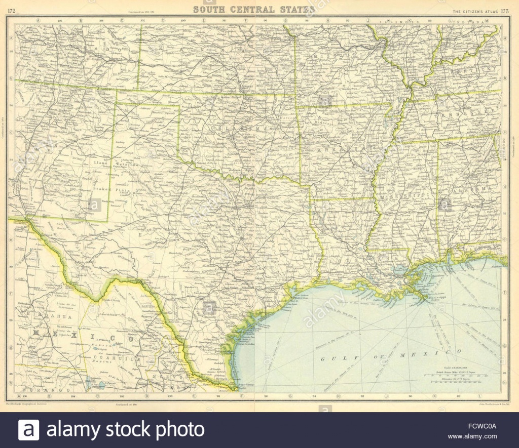 Usa South: Texas Louisiana Oklahoma Arkansas Mississippi Stock Photo - Texas Arkansas Map