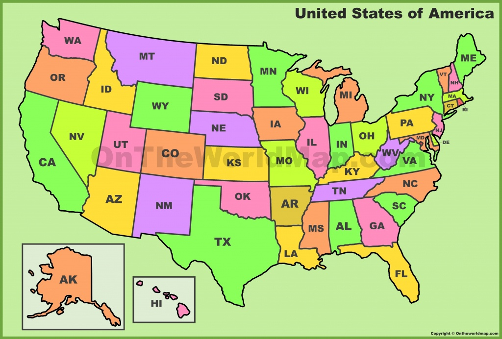 Usa State Abbreviations Map - Printable State Abbreviations Map