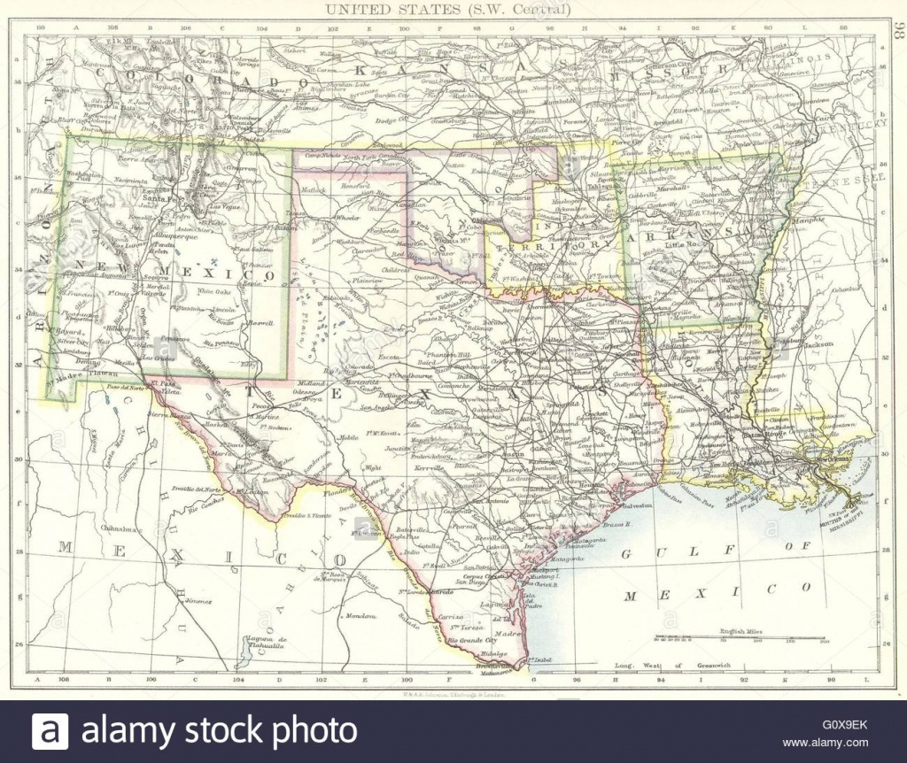 Usa: Sw Central: New Mexico Texas Oklahoma Arkansas Louisiana , 1897 - Texas Arkansas Map