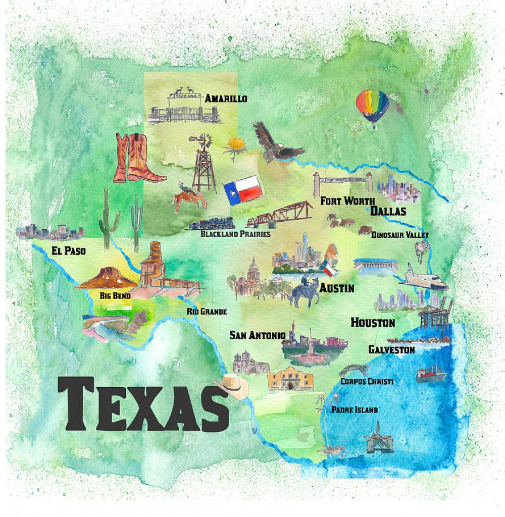 Usa Texas Travel Poster Map With Highlights Paintingm Bleichner - Travel Texas Map