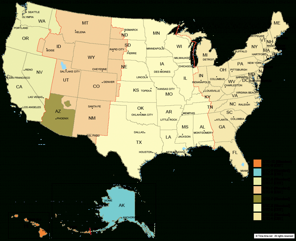 Usa Time Zone Map - With States - With Cities - With Clock - With - Free Printable Us Timezone Map With State Names