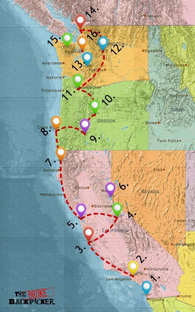 Usa West Coast Road Trip Guide (July 2019) - California Coast Map Road Trip
