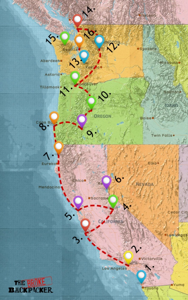 Usa West Coast Road Trip Guide (July 2019) - California Oregon Washington Road Map