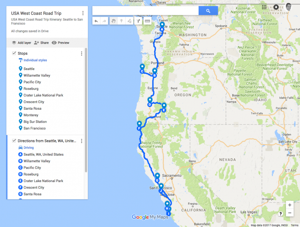 Usa West Coast Road Trip Itinerary: Seattle To San Francisco | Just - Seattle To California Road Trip Map