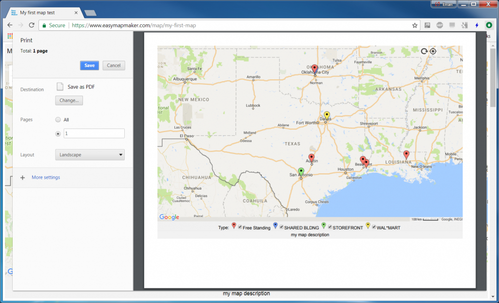 Use A Web Browser To Print A Custom Google Map - Create Printable Map With Pins