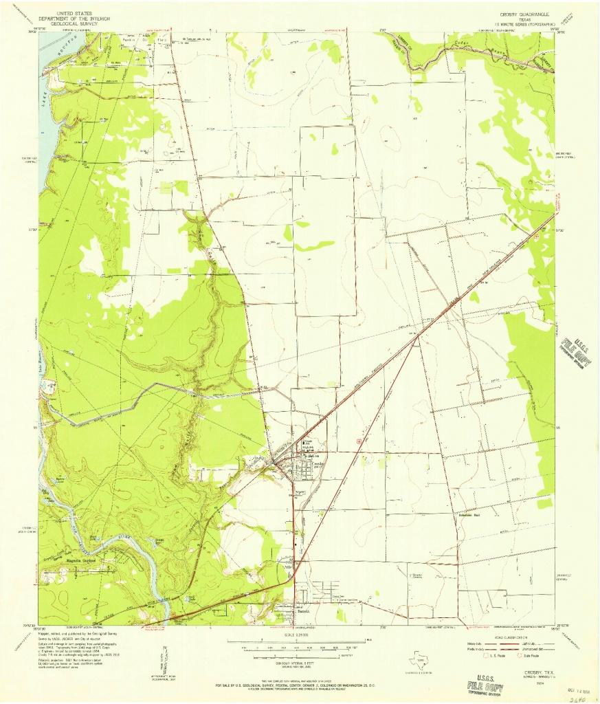 Usgs 1:24000-Scale Quadrangle For Crosby, Tx 1954 - Crosby Texas Map