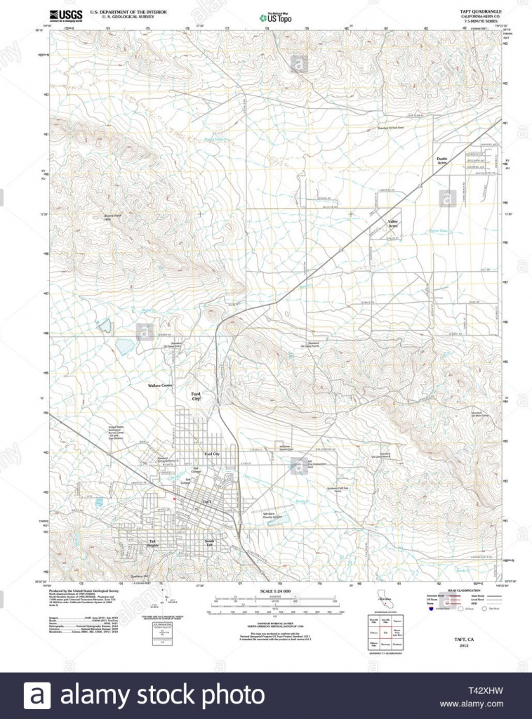 Usgs Topo Map California Ca Taft 20120420 Tm Restoration Stock Photo - Taft California Map