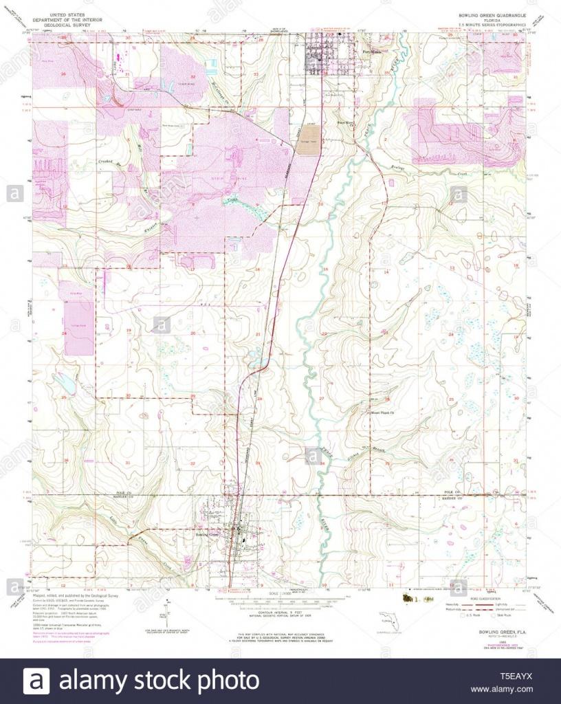 Usgs Topo Map Florida Fl Bowling Green 345263 1955 24000 Restoration - Bowling Green Florida Map
