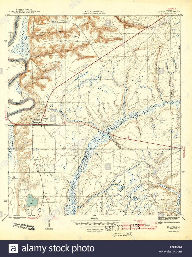 Usgs Topo Map Florida Fl Bristol 345316 1945 31680 Restoration Stock - Bristol Florida Map