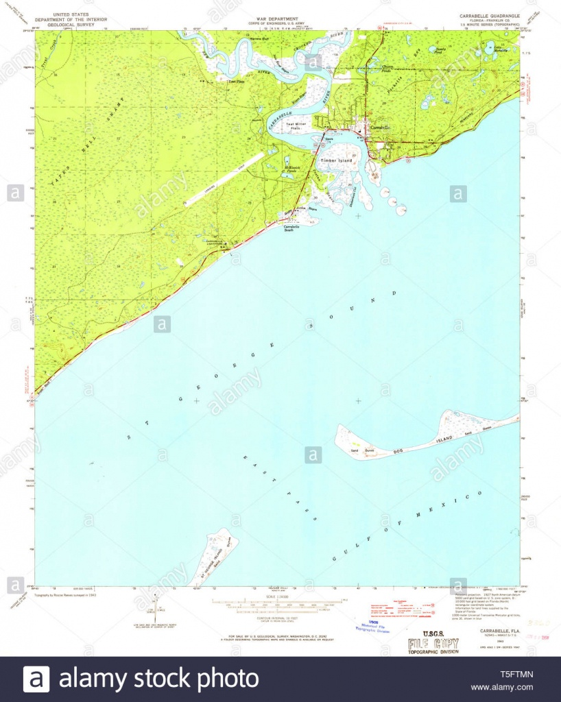 Usgs Topo Map Florida Fl Carrabelle 345428 1943 24000 Restoration - Carrabelle Florida Map